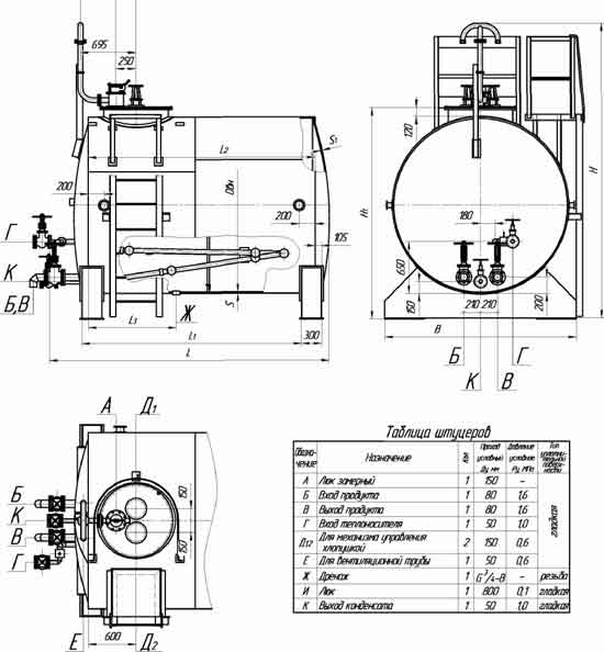 Эскиз и таблица штуцеров РГС 3-10 м3